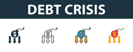 Debt Crisis icon set. Four elements in diferent styles from risk management icons collection. Creative debt crisis icons filled, outline, colored and flat symbols.
