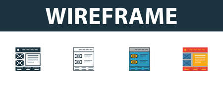 Wireframe icon set. Four elements in diferent styles from web development icons collection. Creative wireframe icons filled, outline, colored and flat symbols.