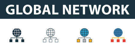 Global Network icon set. Four elements in diferent styles from web development icons collection. Creative global network icons filled, outline, colored and flat symbols.