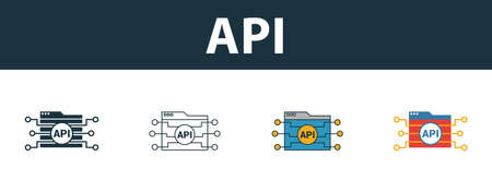Api icon set. Four elements in diferent styles from web development icons collection. Creative api icons filled, outline, colored and flat symbols.