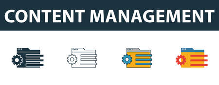 Content Management icon set. Four elements in diferent styles from web development icons collection. Creative content management icons filled, outline, colored and flat symbols.