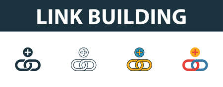 Link Building icon set. Four elements in diferent styles from web development icons collection. Creative link building icons filled, outline, colored and flat symbols. 矢量图像