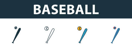 Baseball icon set. Four elements in diferent styles from sport equipment icons collection. Creative baseball icons filled, outline, colored and flat symbols. 向量圖像