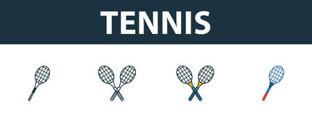 Tennis icon set. Four elements in diferent styles from sport equipment icons collection. Creative tennis icons filled, outline, colored and flat symbols.