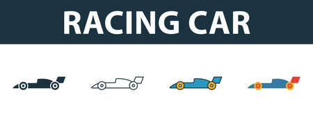 Racing Car icon set. Four elements in diferent styles from sport equipment icons collection. Creative racing car icons filled, outline, colored and flat symbols.