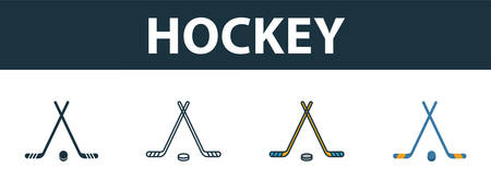 Hockey icon set. Four elements in diferent styles from sport equipment icons collection. Creative hockey icons filled, outline, colored and flat symbols. 向量圖像