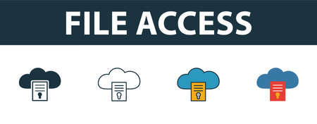 File Access icon set. Four elements in diferent styles from web hosting icons collection. Creative file access icons filled, outline, colored and flat symbols.