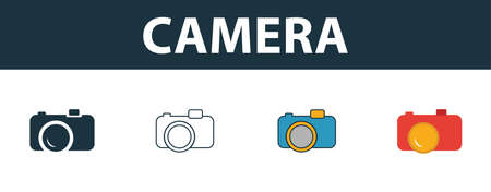 Camera icon set. Four elements in diferent styles from travel icons collection. Creative camera icons filled, outline, colored and flat symbols. Ilustracja