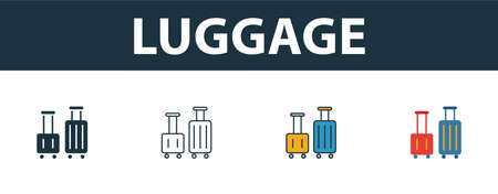 Luggage icon set. Four elements in different styles from tourism icons collection. Creative luggage icons filled, outline, colored and flat symbols.