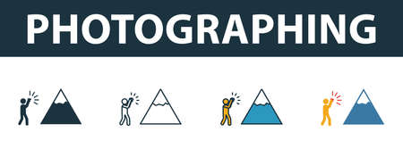 Photographing icon set. Four elements in different styles from tourism icons collection. Creative photographing icons filled, outline, colored and flat symbols.