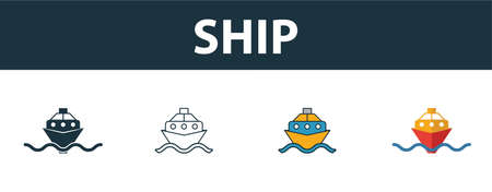 Ship icon set. Four elements in diferent styles from transport icons collection. Creative ship icons filled, outline, colored and flat symbols. Stock Illustratie