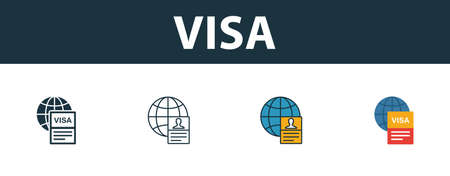 Visa icon set. Four simple symbols in diferent styles from tourism icons collection. Creative visa icons filled, outline, colored and flat symbols Illusztráció