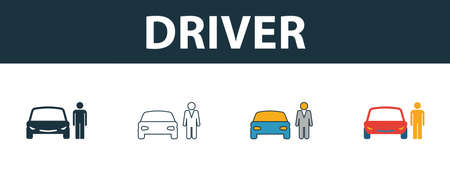 Car Driver icon set. Four simple symbols in diferent styles from transport icons collection. Creative car driver icons filled, outline, colored and flat symbols Фото со стока - 131596307