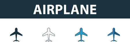 Airplane icon set. Four simple symbols in diferent styles from transport icons collection. Creative airplane icons filled, outline, colored and flat symbols