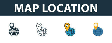 Map Location icon set. Four simple symbols in diferent styles from travel icons collection. Creative map location icons filled, outline, colored and flat symbols