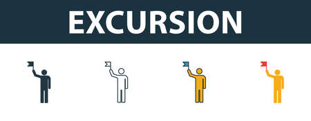 Excursion icon set. Four simple symbols in diferent styles from travel icons collection. Creative excursion icons filled, outline, colored and flat symbols 일러스트
