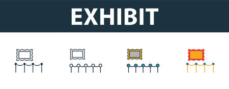 Exhibit icon set. Four simple symbols in diferent styles from tourism icons collection. Creative exhibit icons filled, outline, colored and flat symbols Çizim
