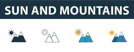 Sun And Mountains icon set. Four simple symbols in diferent styles from travel icons collection. Creative sun and mountains icons filled, outline, colored and flat symbols