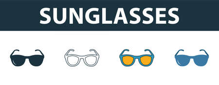 Sunglasses icon set. Four simple symbols in diferent styles from travel icons collection. Creative sunglasses icons filled, outline, colored and flat symbols