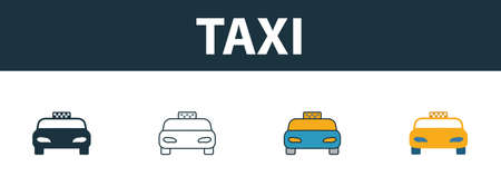 Taxi icon set. Four simple symbols in diferent styles from travel icons collection. Creative taxi icons filled, outline, colored and flat symbols
