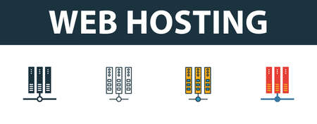 Web Hosting icon set. Four simple symbols in diferent styles from web hosting icons collection. Creative web hosting icons filled, outline, colored and flat symbols