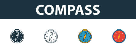 Compass icon set. Four simple symbols in diferent styles from travel icons collection. Creative compass icons filled, outline, colored and flat symbols