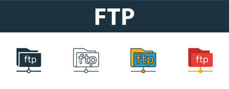 Ftp icon set. Four simple symbols in diferent styles from web hosting icons collection. Creative ftp icons filled, outline, colored and flat symbols