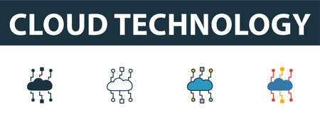 Cloud Technology icon set. Four simple symbols in diferent styles from web hosting icons collection. Creative cloud technology icons filled, outline, colored and flat symbols Çizim