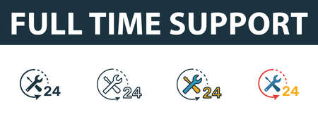Full Time Support icon set. Four simple symbols in diferent styles from web hosting icons collection. Creative full time support icons filled, outline, colored and flat symbols Illusztráció
