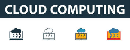 Cloud Computing icon set. Four simple symbols in diferent styles from web hosting icons collection. Creative cloud computing icons filled, outline, colored and flat symbols Çizim