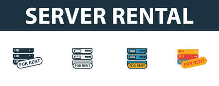Server Rental icon set. Four simple symbols in diferent styles from web hosting icons collection. Creative server rental icons filled, outline, colored and flat symbols
