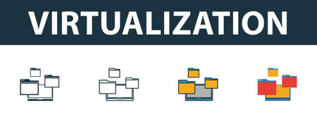 Virtualization icon set. Four simple symbols in diferent styles from web hosting icons collection. Creative virtualization icons filled, outline, colored and flat symbols
