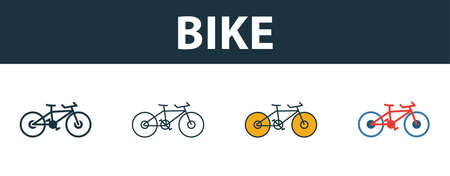 Bike icon set. Four simple symbols in diferent styles from travel icons collection. Creative bike icons filled, outline, colored and flat symbols Illusztráció