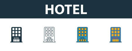 Hotel icon set. Four simple symbols in diferent styles from travel icons collection. Creative hotel icons filled, outline, colored and flat symbols