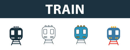 Train icon set. Four simple symbols in diferent styles from transport icons collection. Creative train icons filled, outline, colored and flat symbols