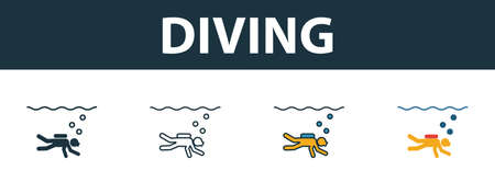 Diving icon set. Four elements in different styles from tourism icons collection. Creative diving icons filled, outline, colored and flat symbols.