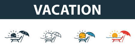 Vacation icon set. Four elements in different styles from tourism icons collection. Creative vacation icons filled, outline, colored and flat symbols. Illustration