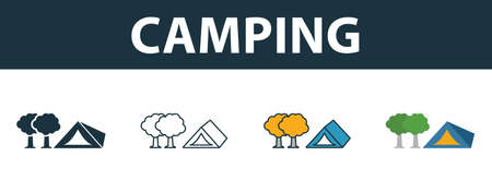 Camping icon set. Four elements in different styles from tourism icons collection. Creative camping icons filled, outline, colored and flat symbols.