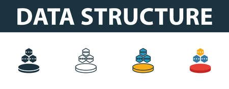 Data Structure icon set. Four elements in different styles from web hosting icons collection. Creative data structure icons filled, outline, colored and flat symbols.