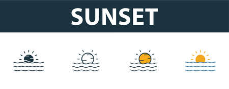 Sunset icon set. Four elements in different styles from tourism icons collection. Creative sunset icons filled, outline, colored and flat symbols.