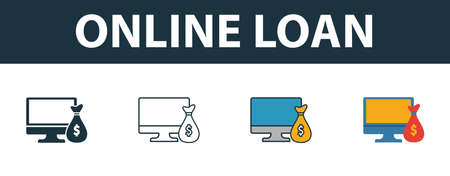 Online Loan icon set. Premium symbol in different styles from fintech technology icons collection. Creative online loan icon filled, outline, colored and flat symbols