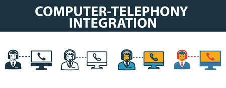 Computer-Telephony Integration icon set. Premium symbol in different styles from customer service icons collection.