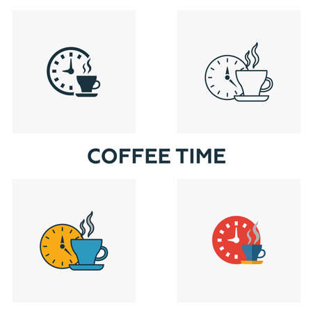 Coffee Time icon. Thin line symbol design from coffe shop icon collection. UI and UX. Creative simple coffee time icon for web and mobile