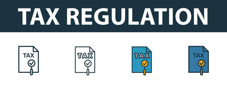 Tax Regulation icon set. Premium symbol in different styles from fintech technology icons collection. Creative tax regulation icon filled, outline, colored and flat symbols