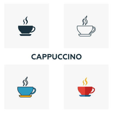 Cappuccino icon. Thin line symbol design from coffe shop icon collection. UI and UX. Creative simple cappuccino icon for web and mobile Vectores