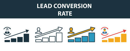 Lead Conversion Rate icon set. Premium symbol in diferent styles from crm icons collection. Creative lead conversion rate icon filled, outline, colored and flat symbols