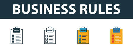 Business Rules icon set. Premium simple element in different styles from customer service icons collection. Set of business rules icon in filled, outline, colored and flat symbols concept.