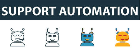 Support Automation icon set. Premium symbol in diferent styles from crm icons collection. Creative support automation icon filled, outline, colored and flat symbols Stock Illustratie