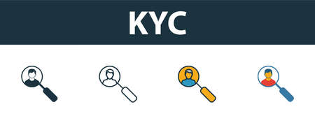 Kyc icon set. Premium symbol in different styles from fintech technology icons collection. Creative kyc icon filled, outline, colored and flat symbols 일러스트