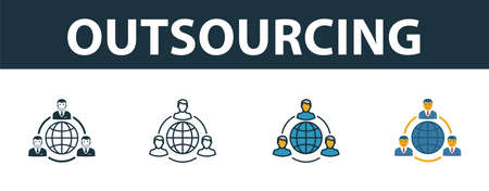 Outsourcing icon set. Premium simple element in different styles from customer service icons collection. Set of outsourcing icon in filled, outline, colored and flat symbols concept. Ilustração